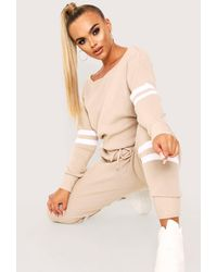 MissPap Double Stripe Knitted Lounge Set - Natural