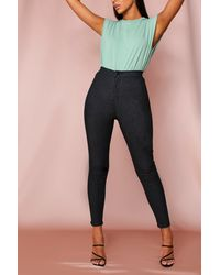 MissPap High Waisted Disco Stretch Skinny Jeans - Blue