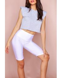 MissPap High Waisted Disco Cycling Shorts - White