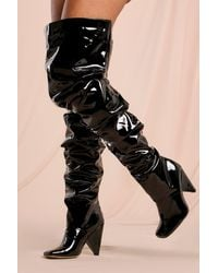 MissPap Ruched Over The Knee Heeled Boot - Black