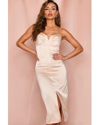MissPap Satin Cupped Split Leg Midi Dress - Pink