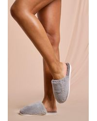MissPap Super Soft Faux Fur Mule Slipper - Grey