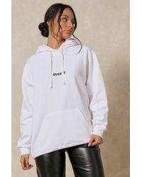 MissPap Over It Slogan Oversized Hoodie - White