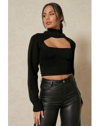 MissPap Knitted High Neck Arm Warmer - Black