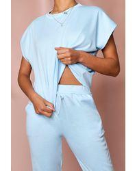 MissPap Short Sleeve Boxy Loungewear Set - Blue