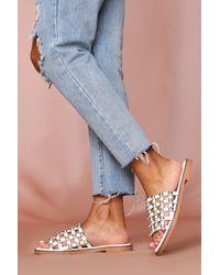 MissPap Calle Detail Studded Flat Sandal - White