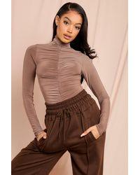 MissPap Slinky Ruched Long Sleeved Bodysuit - Brown