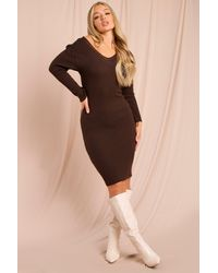 MissPap Knitted V Neck Midaxi Dress - Brown