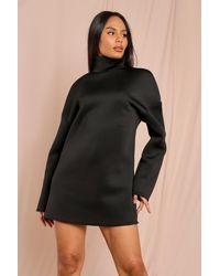 MissPap Oversized Roll/polo Neck Oversized Scuba Dress - Black