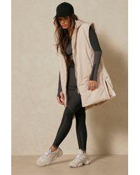MissPap Sleeveless Padded Hooded Gilet Jacket - Natural