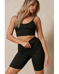 MissPap - Ribbed Crop Top & Cycling Short Set - Lyst