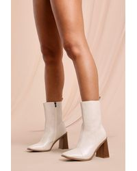 MissPap Leather Look Contrast Heel Ankle Boot - Natural