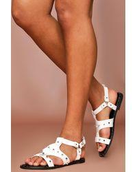 MissPap Studded Caged Gladiator Sandals - White