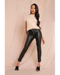 MissPap Split Hem Leather Look Coated Jean - Black