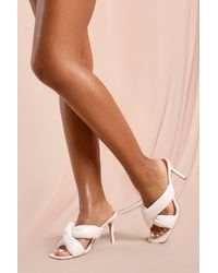 MissPap Tia Twist Front Detail Heeled Mules - White