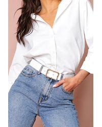 MissPap Croc Square Buckle Belt - White