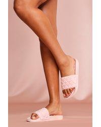 MissPap Textured Slider Sandals - Pink
