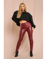 MissPap Leather Look Coated Skinny Jeans - Red