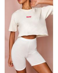 MissPap Cropped T-shirt & Cycle Short Set - White