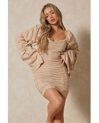 MissPap Extreme Ruched Bodycon Mini Dress - Natural