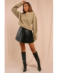 MissPap Leather Look Pleated Mini Skirt - Black