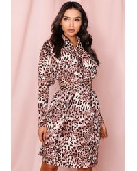MissPap Animal Cut Out Shirt Dress - Multicolour