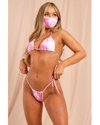 MissPap Tie Dye Triangle Bikini And Fashion Face Mask Set - Pink