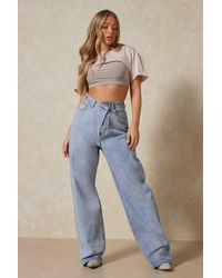 MissPap Slouch Dropped Waist Baggy Jeans - Blue