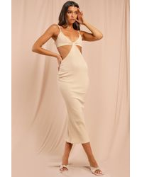 MissPap Missé Ribbed Strappy Cut Out Midaxi Dress - Natural