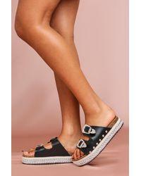 MissPap Western Style Platform Sandals - Black