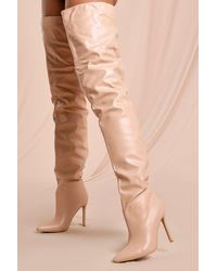 MissPap Thigh High Pointed Heeled Boots - Natural