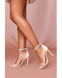 MissPap Strappy Detail Barely There High Heels - Natural