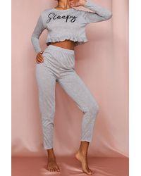 MissPap Sleepy Slogan Frill Hem Pj Trouser Set - Grey