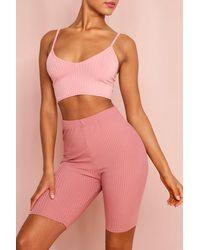 MissPap Ribbed Cycling Shorts - Pink