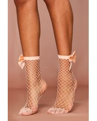 MissPap Fish Net Sock With Satin Bow Back - Pink