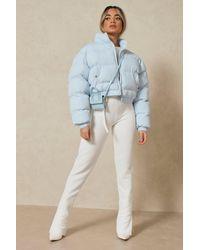 MissPap Funnel Neck Cropped Puffer Jacket - Blue