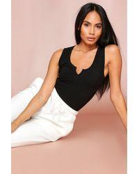 MissPap Notch Neck Sleeveless Bodysuit - Black