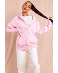 MissPap Basic Oversized Zip Through Longline Hoodie - Pink