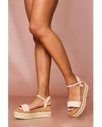 MissPap Jewel Embellished Flatform Sandal - Natural