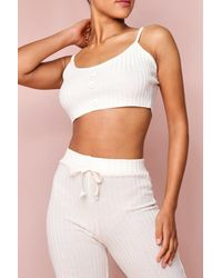 MissPap Ribbed Knit Button Front Cropped Bralet - Multicolour