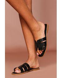 MissPap Croc Cross Strap Sliders - Black