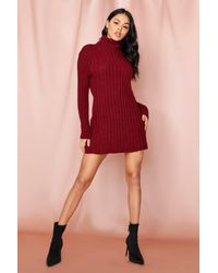 MissPap Ribbed Knitted Roll/polo Neck Jumper Dress - Red