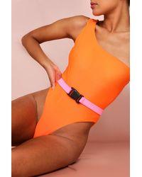 MissPap One Shoulder Belted Swim Suit - Orange
