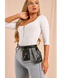 MissPap Leather Look Utility Belt Bag - Black