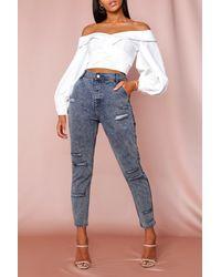 MissPap Indigo Washed Distressed Denim Jeans - Blue