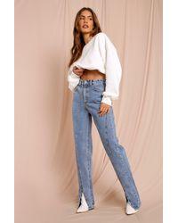 MissPap Straight Leg Seam Detail Split Front Jean - Blue
