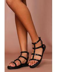 MissPap Studded Gladiator Sandals - Black