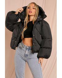 MissPap Oversized Sleeve Hooded Puffer Jacket - Black