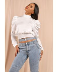 MissPap Satin Statement Sleeve Blouse - White