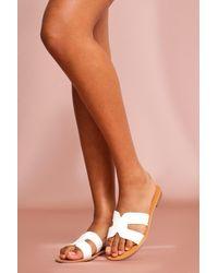 MissPap Cross Strap Slider Sandals - White